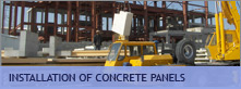 Installation of concrete panels